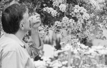 꽃 냄새를 맡는 남성