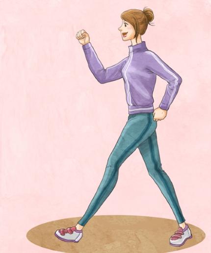 열심히 걷고 있는 여성
