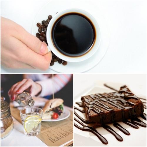 커피와 시럽,초콜릿케익