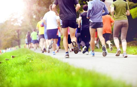 공원에서 걷기, 달리기 등을 하는 사람들