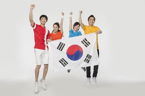 한국팀을 응원하는 모습