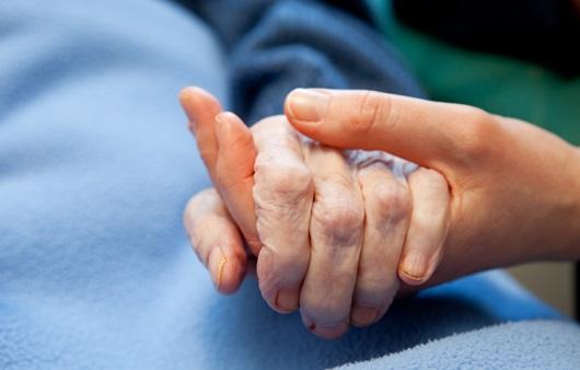 환자의 손을 맞잡은 손