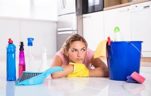 집 청소하는 여성