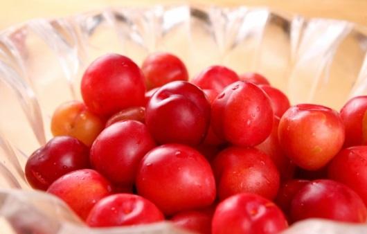 여름 제철 과일, 빨간 자두 한 개에 가득한 영양
